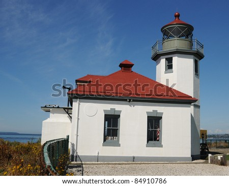 Discovery Park Lighthouse on a Clear Seattle Day