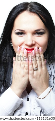 discreet awkward meaningful silence pretty woman with hands over mouth - stock photo