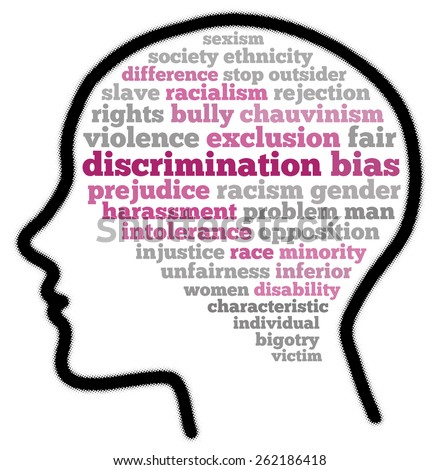 Discrimination in word cloud concept - stock photo