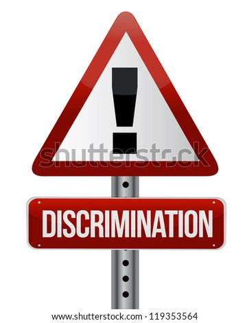 discrimination warning sign illustration design over a white background