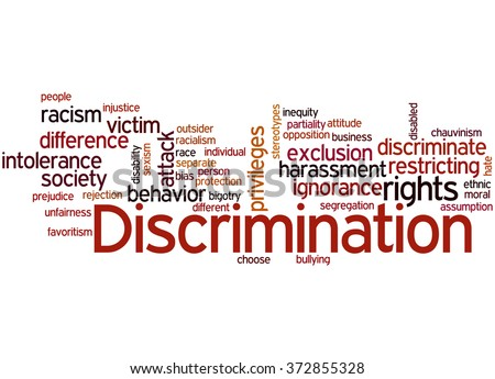 Discrimination, word cloud concept on white background.  - stock photo