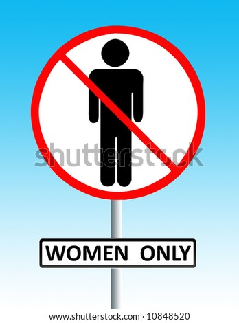 discriminative road style sign depicting sexism and discrimination