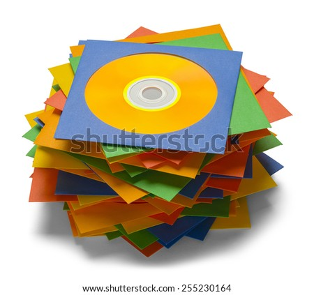 Discs in Cases Stacked in Pile Isolated on a White Background. - stock photo