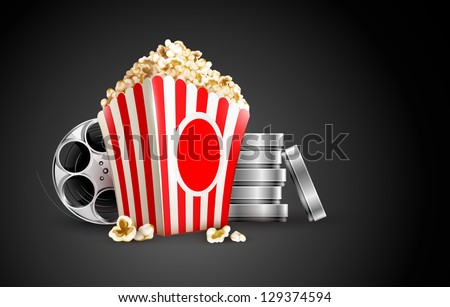 discs with film tape reel and popcorn. Rasterized illustration. Vector version also available in my gallery. - stock photo