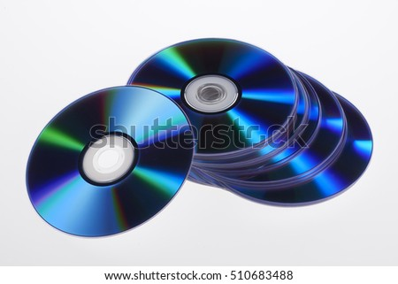 Discs with music and movies. DVD or CD