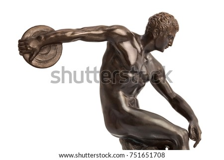 Discus thrower on white background. The Discobolo is a sculpture made around 455 B.C. by Mirone.
