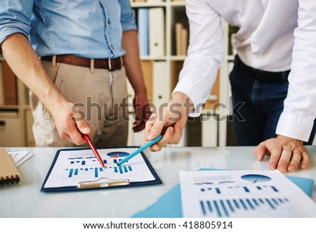 Discussing data - stock photo