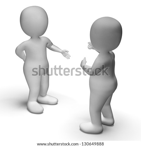 Discussion Between Two 3d Characters Showing Communication - stock photo