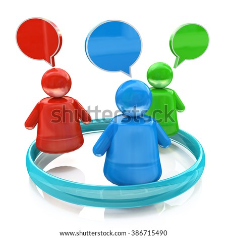 Discussion internet group in the design of information related to communication - stock photo