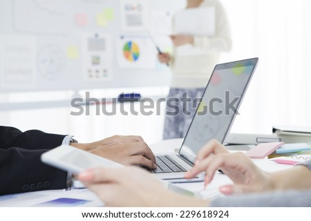 Discussion of a clean office - stock photo