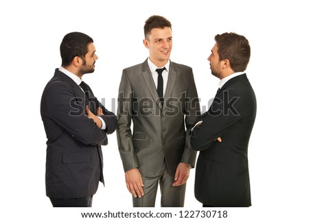 Discussion of three business men isolated on white background - stock photo