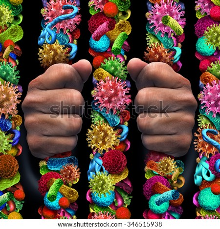 Disease suffering as a quarantine isolation patient behind prison bars made of germ virus bacteria and malignant cells as a medical health care concept of medical and hospital care management. - stock photo