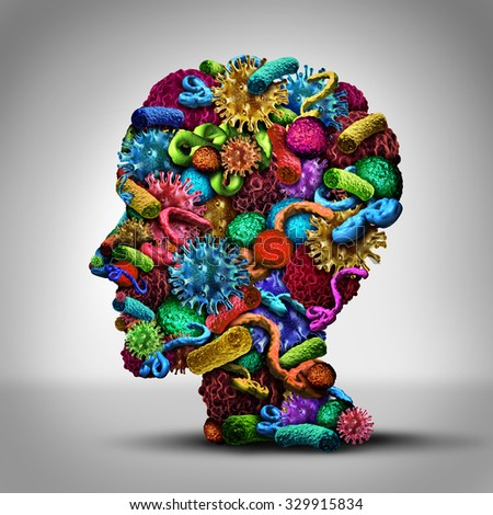 Disease thinking illness issues and medical concept as a group of cancer bacteria cells and ebola virus shaped as a human head as a health care symbol of pathology ideas and solutions. - stock photo