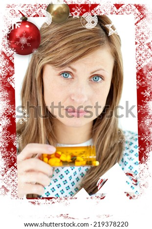 Diseased woman taking pills against christmas themed frame - stock photo