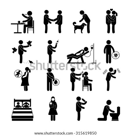 Diseases and infection transmission way set with pictogram people isolated  illustration