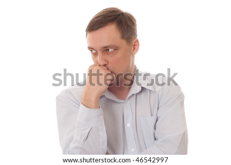 disgruntled man in a blue  on a white background
