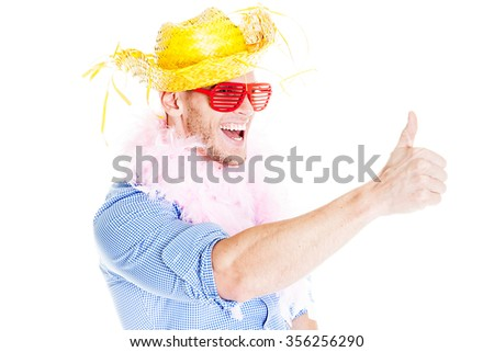 Disguised funny businessman - Holiday concept - stock photo
