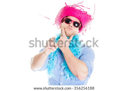 Disguised young man - photo booth photo - stock photo