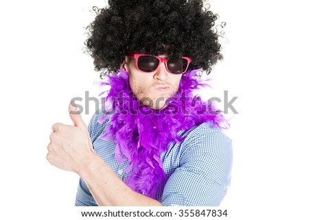 Disguised young man showing thumb up - photo booth photo