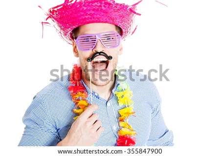Disguised young man with fake mustache - photo booth photo - stock photo