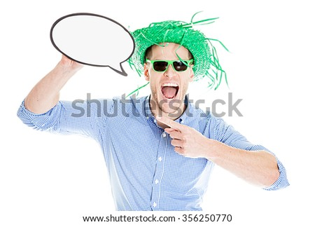 Disguised young man with talk bubble - photo booth photo - stock photo
