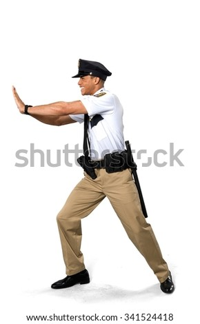 Disgusted African young man with short black hair in uniform pushing - Isolated - stock photo