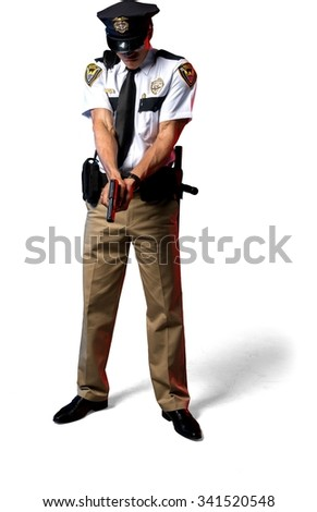 Disgusted African young man with short black hair in uniform using handgun - Isolated - stock photo