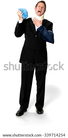 Disgusted Caucasian man with short medium blond hair in business formal outfit holding ice bag - therapy - Isolated - stock photo