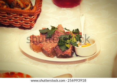 Dish - a snack in the restaurant - the meat aspic - stock photo