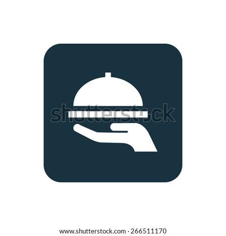dish icon Rounded squares button, on white background  - stock photo