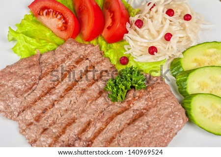 dish of meat chop with vegetable