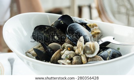 Dish of tasty mixed mediterranean shellfish, mussels  - stock photo