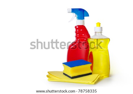 dish washing detergent, sponge an cloth over white background - stock photo