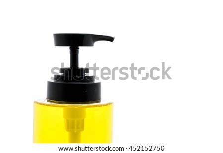 dish washing soap in bottle on white background