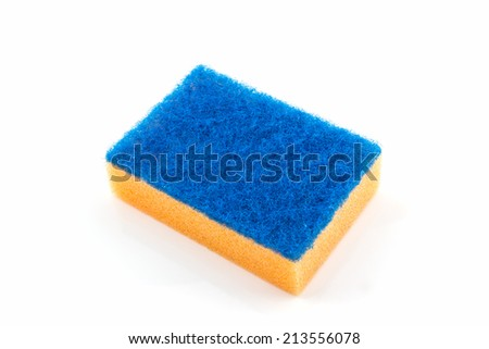 Dish washing sponge, household cleaning sponge for cleaning. - stock photo