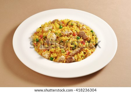 Dish with a portion of meat paella - stock photo