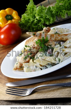 Dish with chicken - stock photo