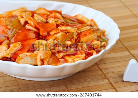 dish with  delicious steamed vegetables and meat. Chinese cuisine - stock photo