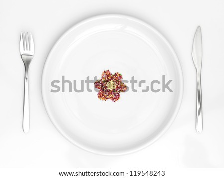 dish with flower from candys