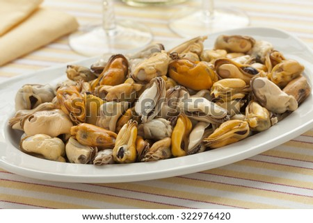 Dish with fresh cooked mussels ready to eat - stock photo