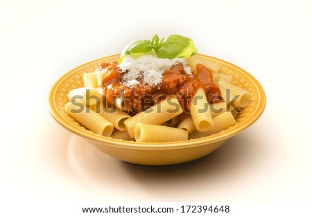 dish with macaroni and ragout isolated on white background - stock photo