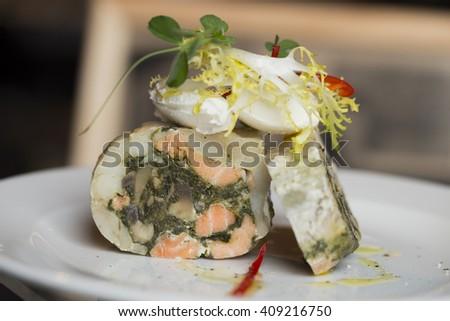 dish with prawns decorated  verdure - stock photo