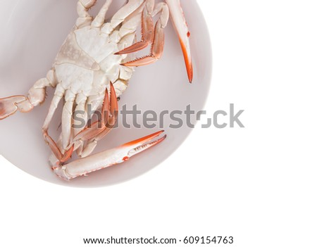 Dish with seafood. Crab on a dish isolated on white background