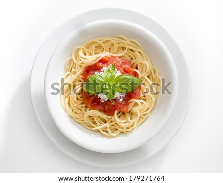 Dish with spaghetti and tomato souce isolated on white background - stock photo