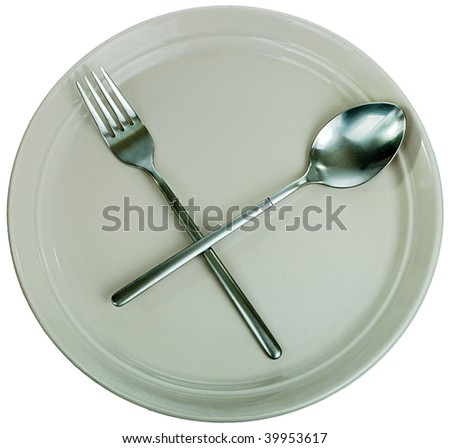 Dishware: empty kitchen plate, fork, spoon