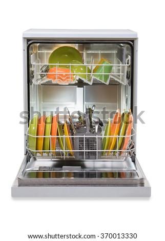 Dishwasher full of utensils isolated against white background - stock photo