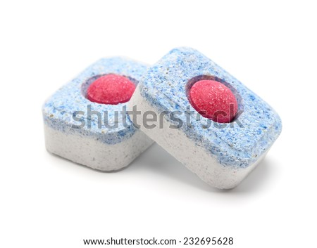 Dishwasher tablets on a white background isolate - stock photo