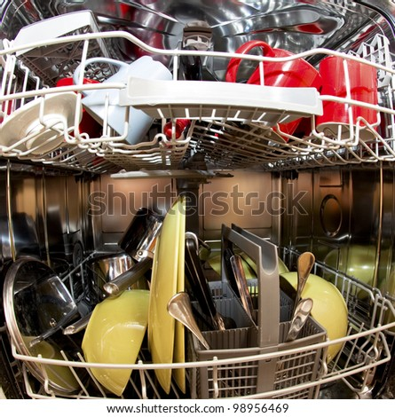 Dishwasher with dirty dishes in kitchen