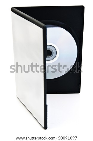 disk and a blank box for the disk are on white background - stock photo