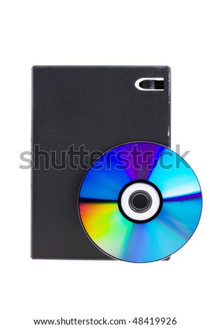 Disk and DVD box isolated on white background - stock photo